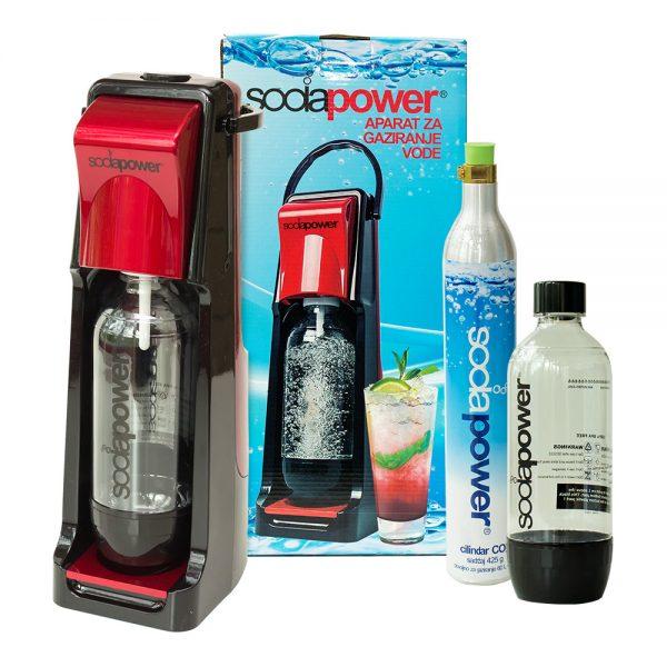 aparat za gaziranje vode sodapower, model leo, kutija, jedna boca i jedan cilindar