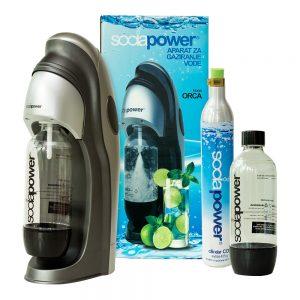 aparat za gaziranje vode sodapower, model orca , kutija, aparat, jedan cilindar i jedna boca